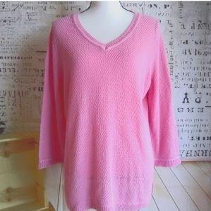 Talbot's fringe cuffs v-neck cotton knit sweater L